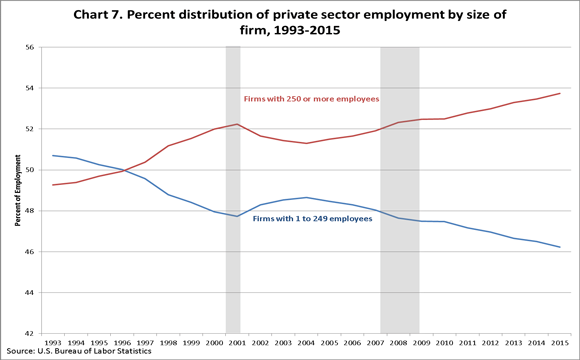 Chart 7. Percent distribution of private sector employment by size of firm, 1993–2010