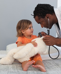 physician assistant with a young child