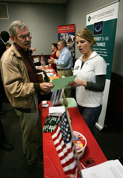 Military veteran at a job fair