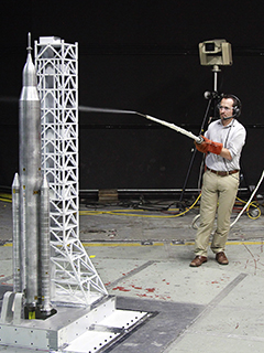 Engineer testing launch system