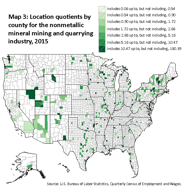 A map of the United States showing the location quotients by county for the nonmetallic mineral mining and quarrying industry, 2015. Source: U.S. Bureau of Labor Statistics, Quarterly Census of Employment and Wages.