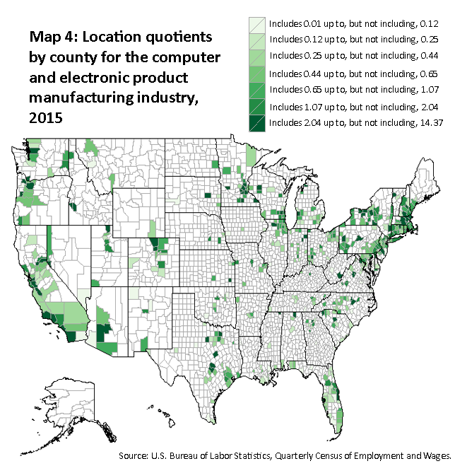 A map of the United States showing the location quotients by county for the computer and electronic product manufacturing industry, 2015. Source: U.S. Bureau of Labor Statistics, Quarterly Census of Employment and Wages.
