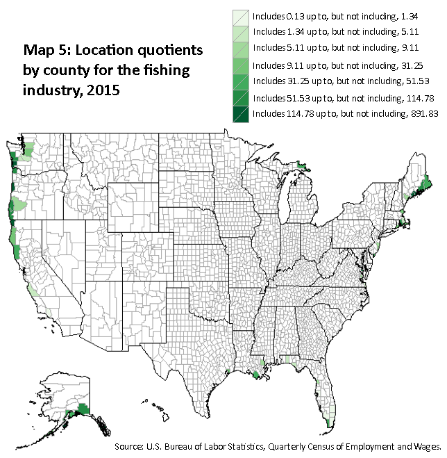 A map of the location quotients by county for the fishing industry, 2015. Source: U.S. Bureau of Labor Statistics, Quarterly Census of Employment and Wages.