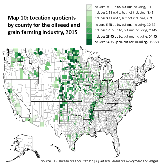 A map of the United States showing the location quotients by county for the oilseed and grain farming industry, 2015. Source: U.S. Bureau of Labor Statistics, Quarterly Census of Employment and Wages.