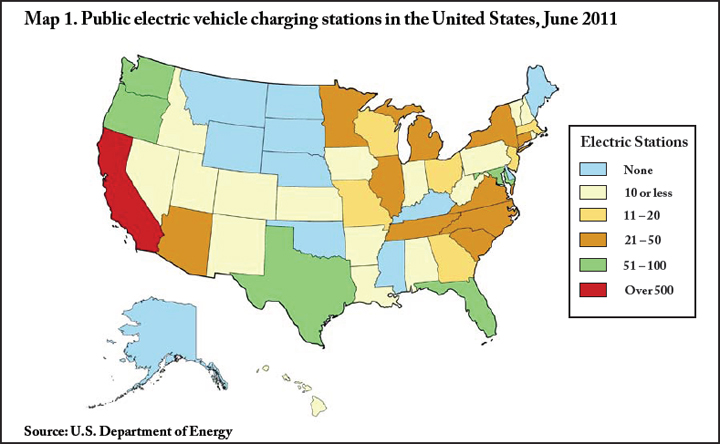map 1 public electric vehicle charging stations in the united states june 2011