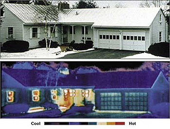 Standard and thermographic images of a house: the lighter colors (yellow, orange, and red) in the lower image show the house's areas of greatest heat loss