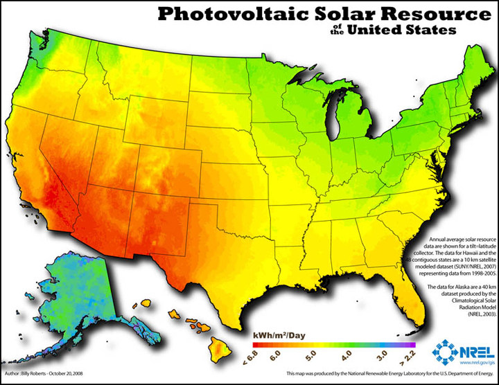 Map 1. Available solar power energy in the United States