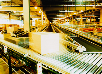 Box on conveyor.