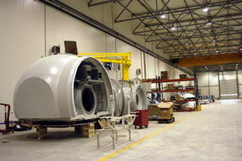 Wind turbine hubs in factory