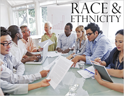 People of various races and ethnicities working together at a table