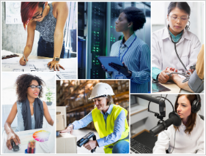 Picture of six women performing different jobs