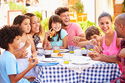 Picture of families eating at a restaurant