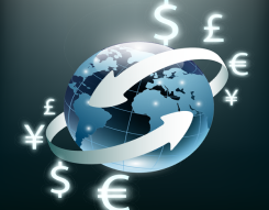 Image of different monetary signs placed around a globe