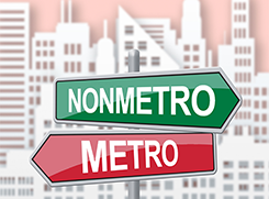 Picture of directional traffic signs pointing to metro an nonmetro areas in front of a city landscape background