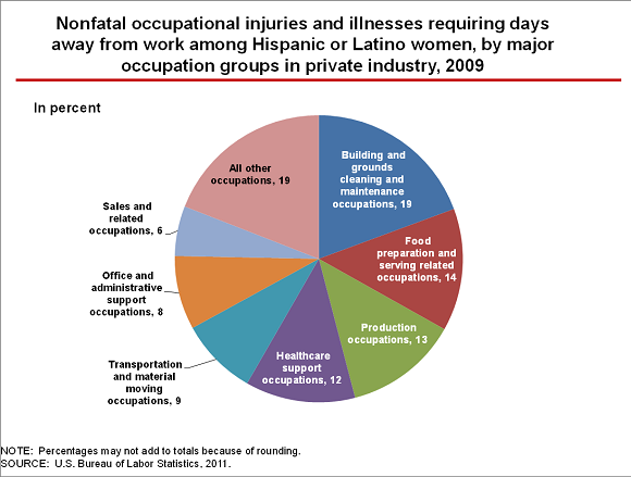 Nonfatal occupational injuries and illnesses requiring days away from work among Hispanic or Latino women, by major occupation groups in private industry, 2009