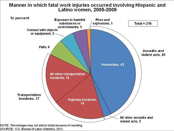 Manner in which fatal work injuries occurred involving Hispanic and Latino women, 2009