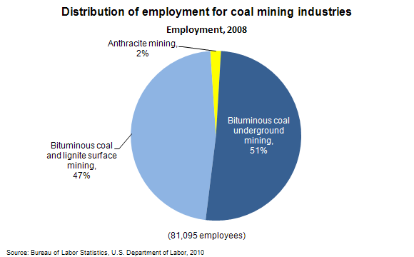 Distribution of employment for coal mining industries