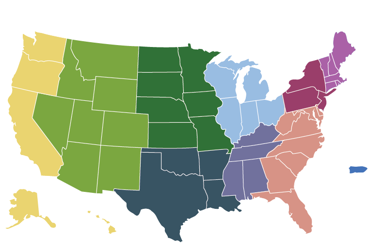 States by 9 Regions by Color
