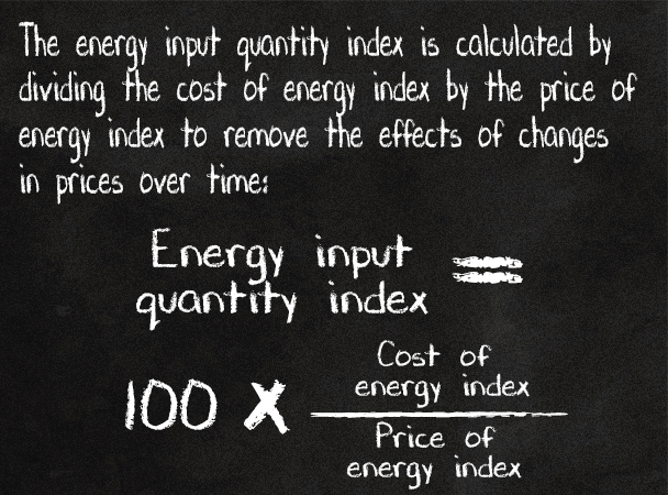 The energy input quantity index is calculated by dividing the cost of energy index by the price of energy index to remove the effects of changes in prices over time.