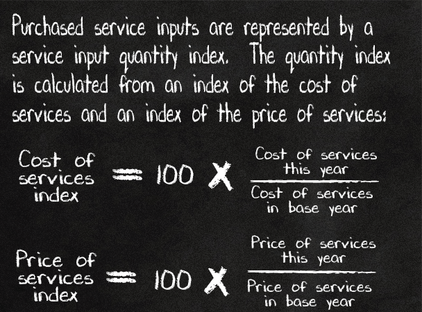 Purchased service inputs are represented by a service input quantity index. The quantity index is calculated from an index of the cost of services and an index of the price of services.