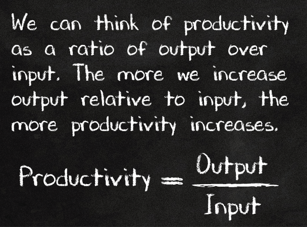 We can think of productivity as a ratio of output over input.¦  The more we increase output relative to input, the more productivity increases.