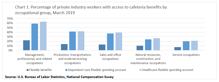 Chart 1. Percentage of private industry workers with access to cafeteria benefits by occupational group, March 2019