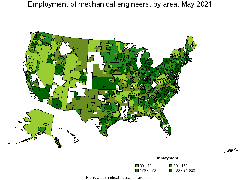 Mechanical engineers metropolitan areas with the highest employment level in this occupation sciox Choice Image
