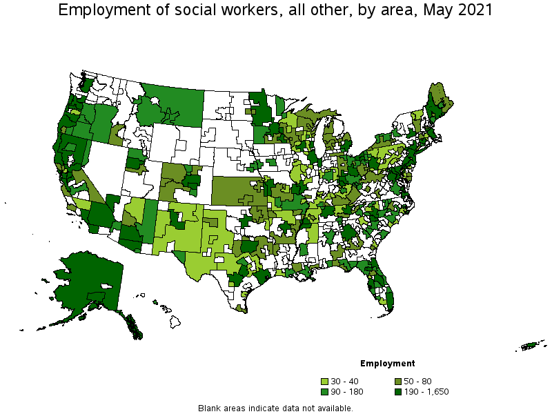 metropolitan areas with the highest employment level in this occupation - What Is The Job Outlook For A Social Worker