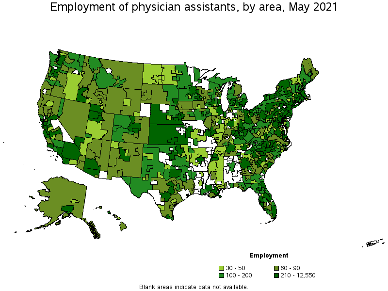 Physician Assistants - Map of physician assistant programs in us