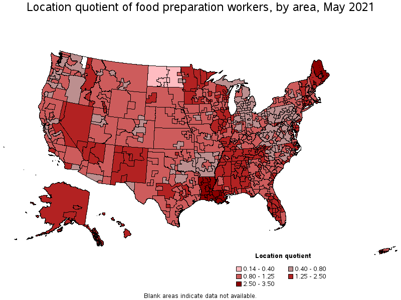 metropolitan areas with the highest concentration of jobs and location quotients in this occupation - Food Preparer Job Description
