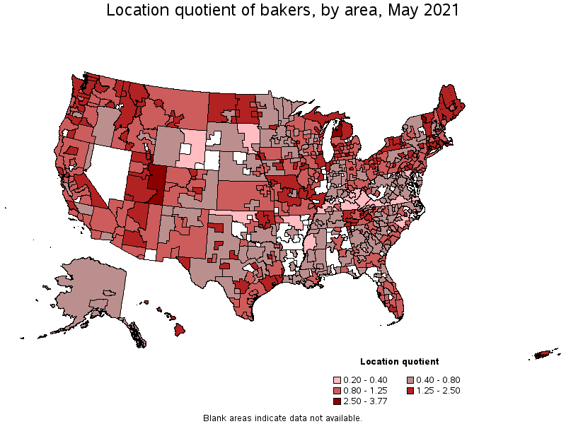 Bakers - Map of chefs in us