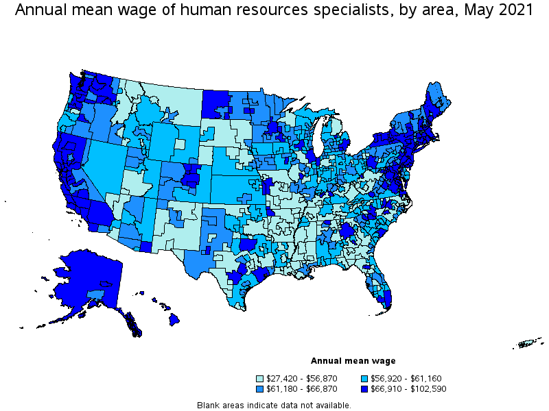 Hr Specialists salary map of top paying cities