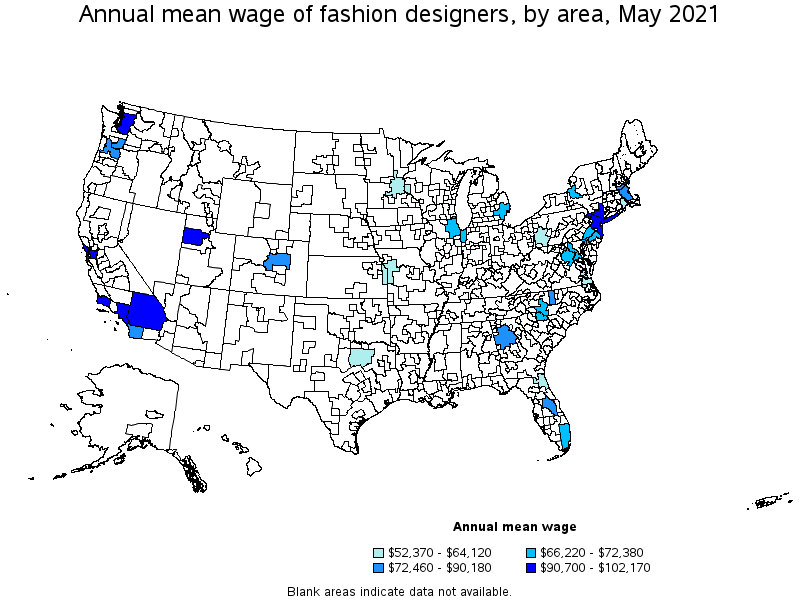 map of top paying cities for fashion designers