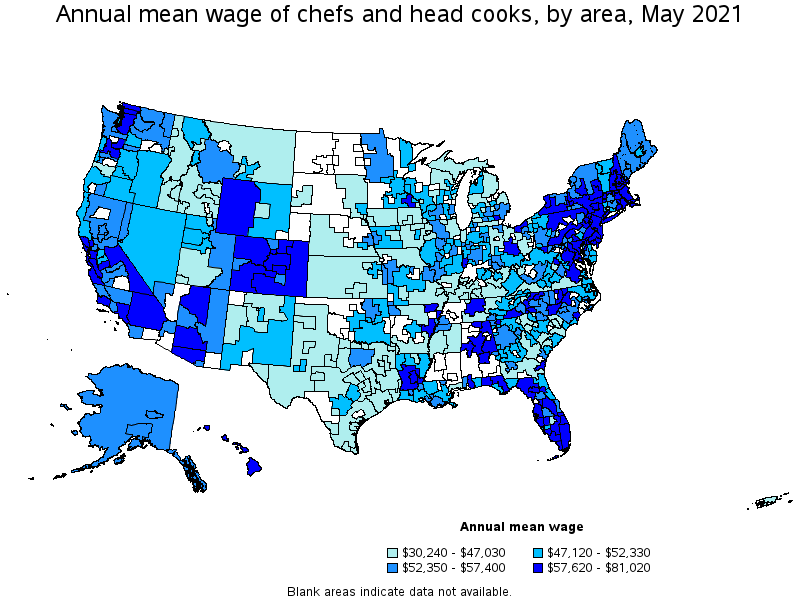Chefs And Head Cooks - Map of chefs in us