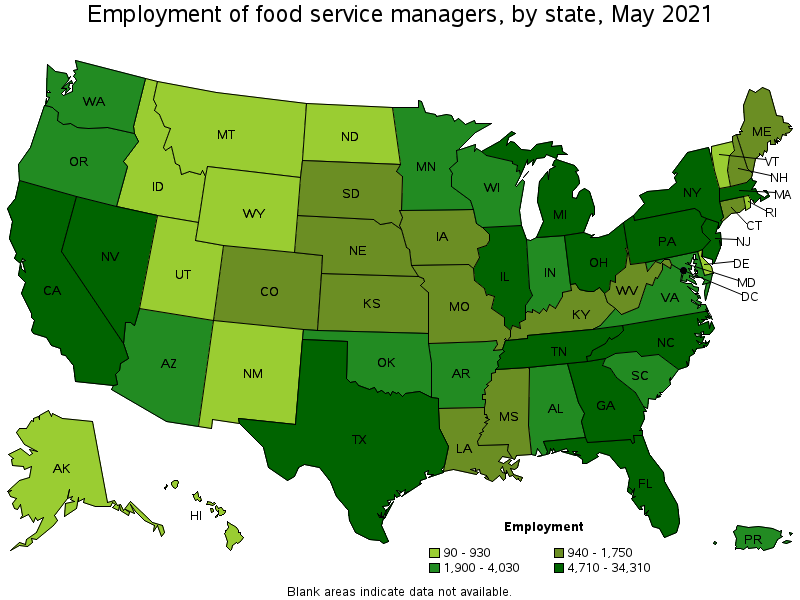 Food Service Managers - Us map of food volume