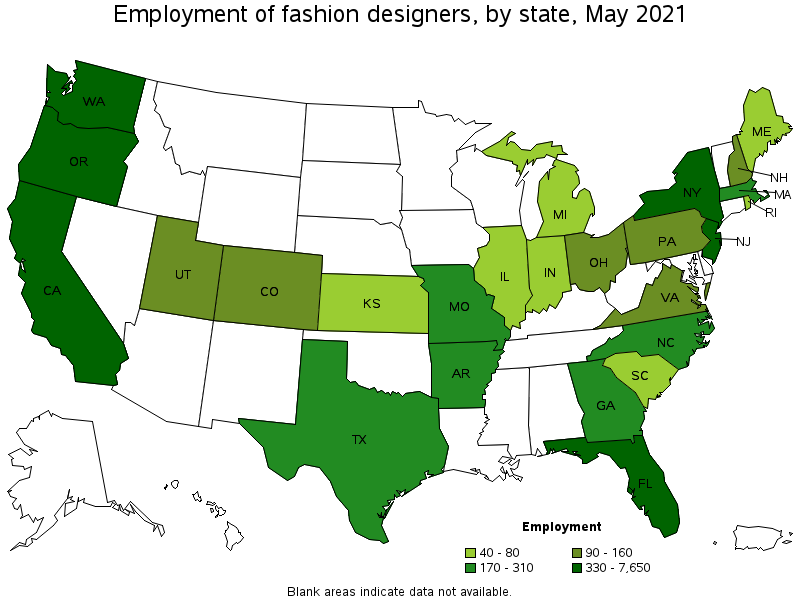 Average Salary Of Clothing Designer States with the highest
