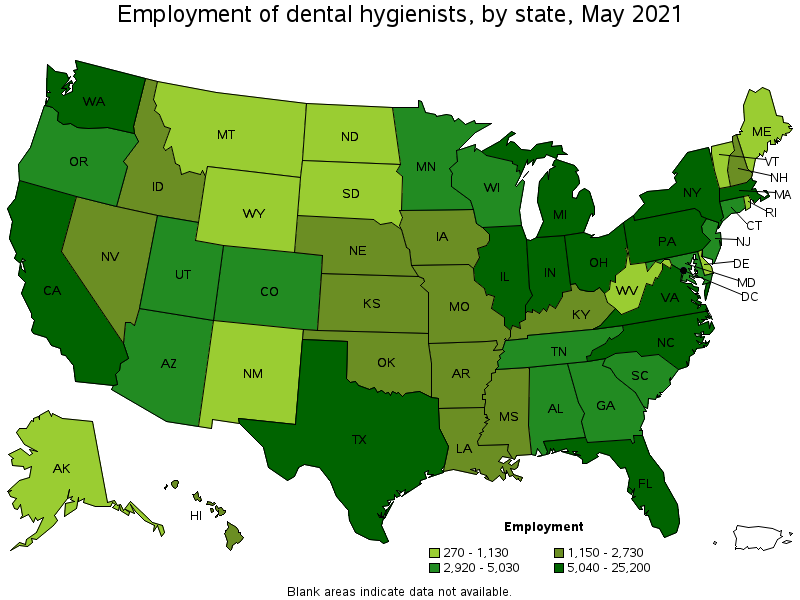 Employment of Dental Hygienists by State 2019