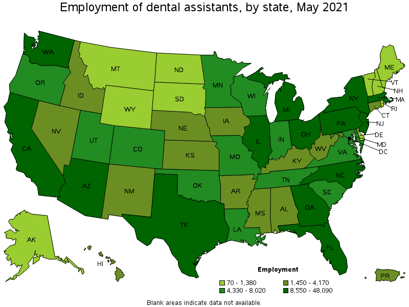 Employment of Dental Assistants by State 2019