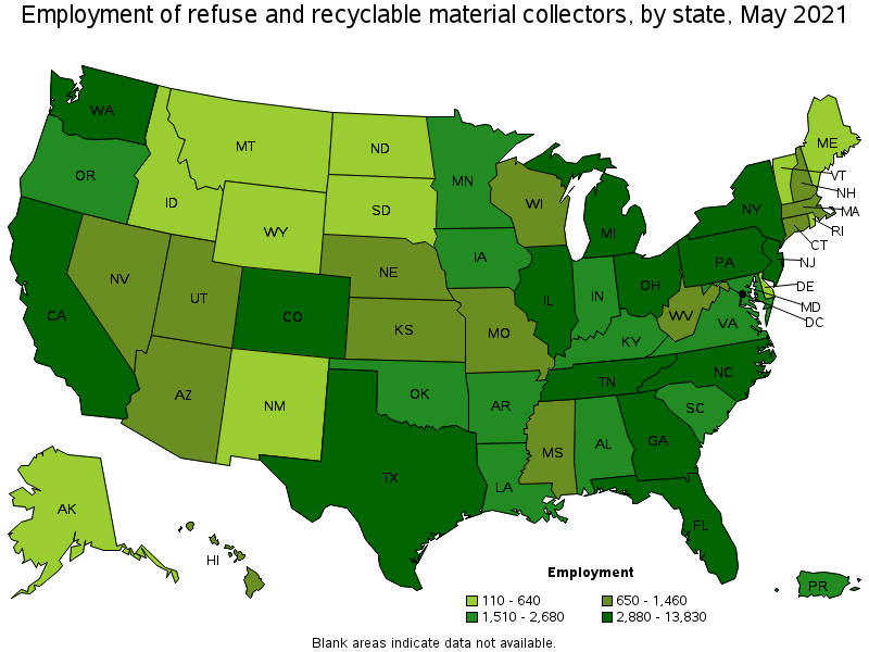 Refuse And Recyclable Material Collectors - Map of locations available to recycle in the us