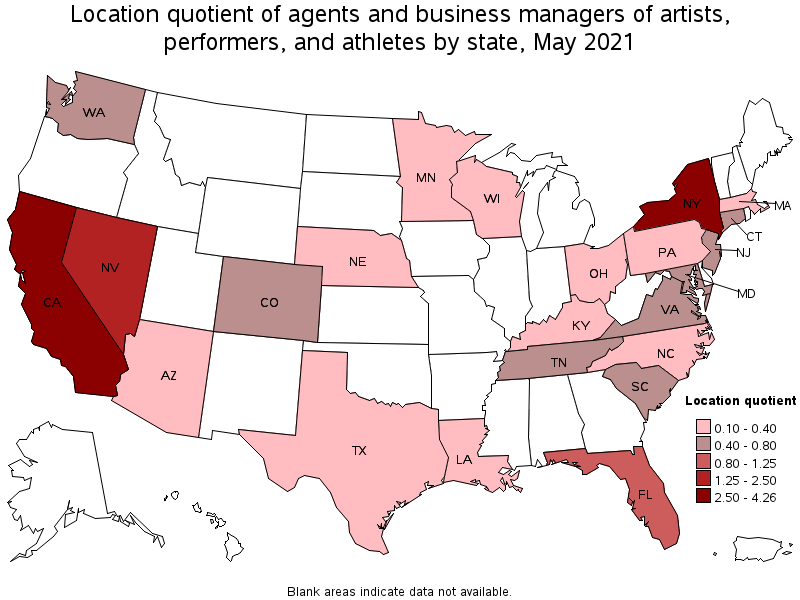 states with the highest concentration of jobs and location quotients in this occupation - Artist Management Jobs