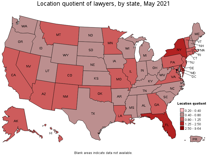Lawyers - Us cost of living map