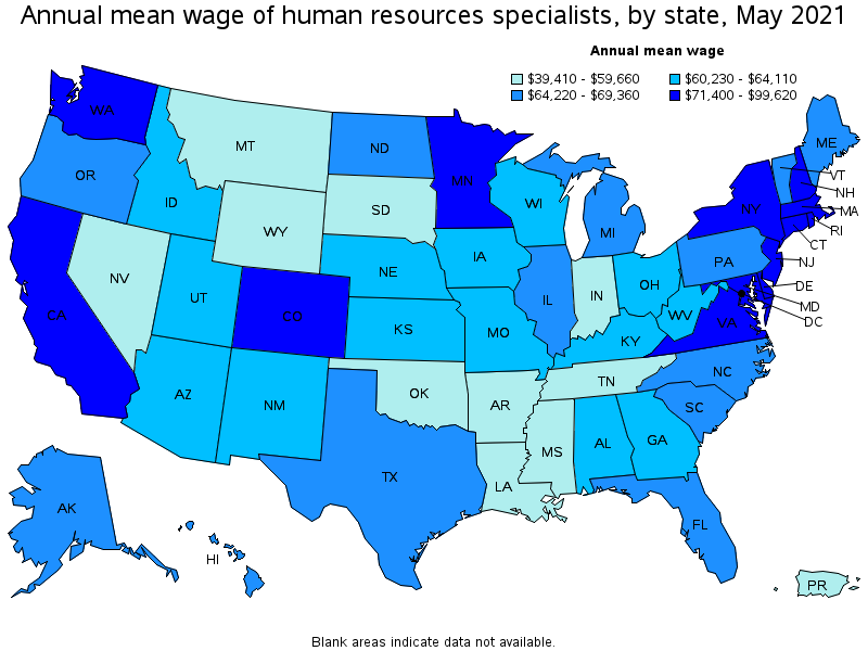 Map of the highest paying states for HR Specialists