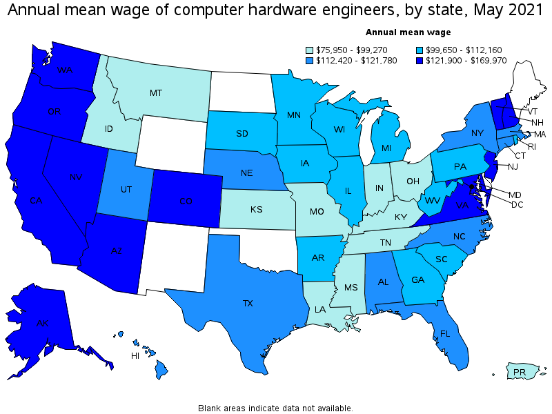computer hardware engineering In 2014, the average salary for computer hardware engineers, network architects and systems administrators in these areas was more than $122,000.
