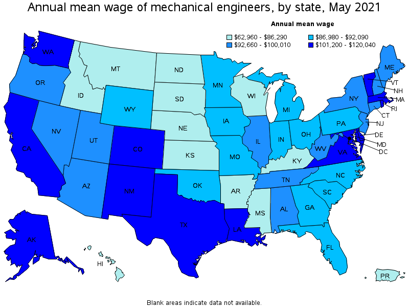 Mechanical engineers top paying states for this occupation sciox Choice Image