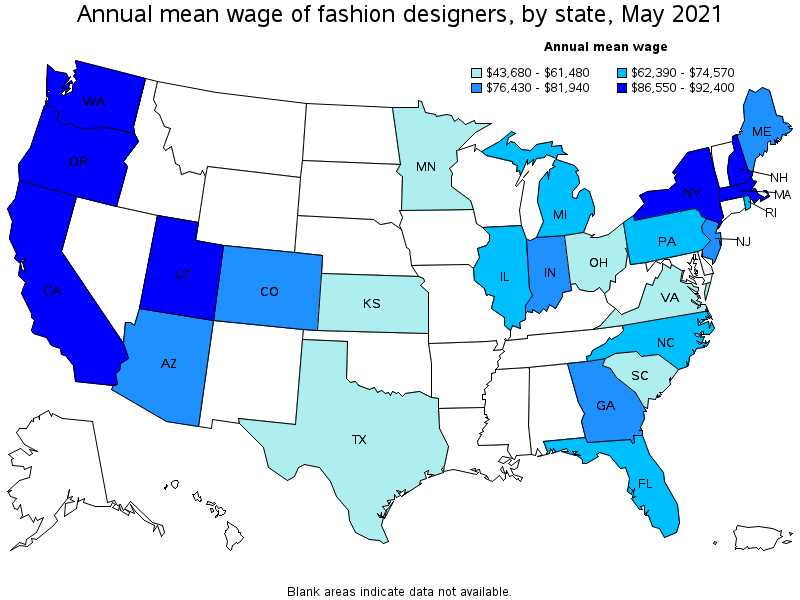 Clothing Designer Salary Top paying States for this