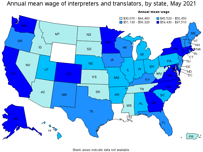 Map of the USA showing how mean wages by state