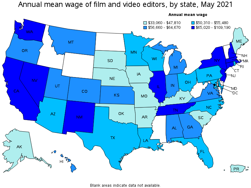 Film And Video Editors Film Editor Jobs On The Us Map
