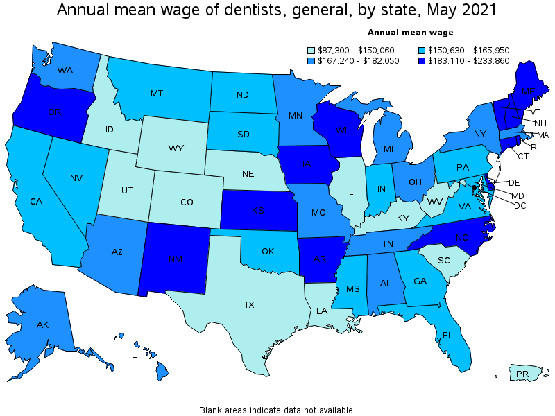 Dentists General - Heat map of us dentists