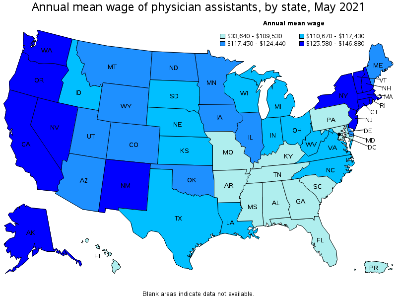 Physician Assistants - Us county map salaries
