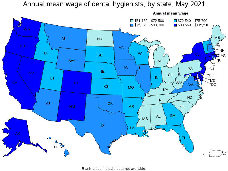 Annual average wage - dental hygienists by State 2019